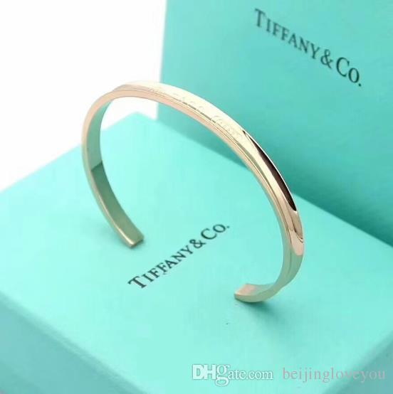 Hot sell 2019 Fashion Luxury Designer Stainless steel Jewelry open bangle T letter brand love bracelet jewelry wholesale