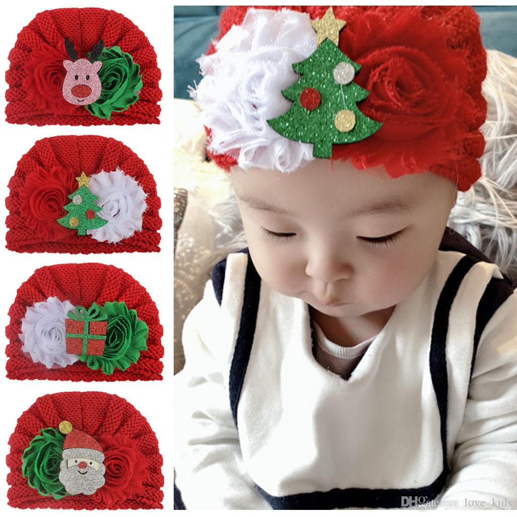 Newborn Baby Knitted Christmas Hat Fashion Infant Santa Snowman Beanie Cap Flower Toddler Crochet Knit Hats Winter Girls Caps