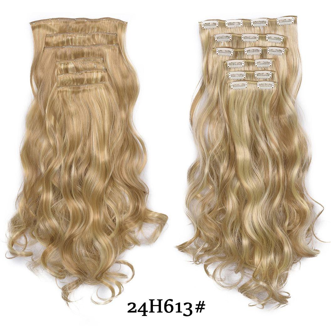 """Длинные светлые волосы синтетические клипы в наращивание волос Weave 20 """" 140g 16 клипы накладные волосы штук коричневый черный белый цвет"""
