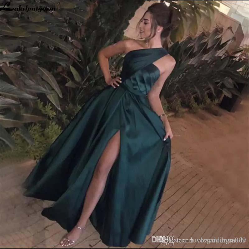 Элегантный Дешевые Hunter Green Пром платье Line одно плеча со складками Sexy Side Split Zipper вечерних платья выполненного на заказ