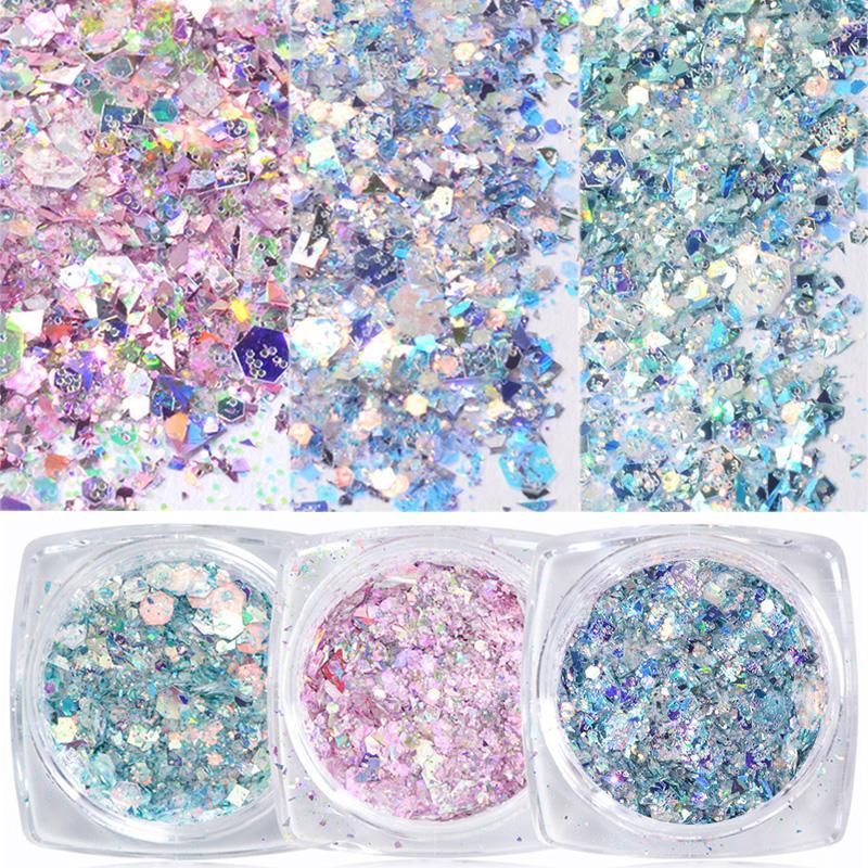 1 Box Nail Mermaid Glitter Flakes Sparkly 3D Hexagone coloré Paillettes Paillettes Holographic Nail Art Décorations Paillette