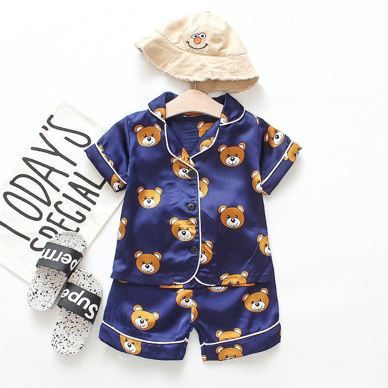 Kid pajamas baby clothe girl Two-Piece suit for summer home wear clothing short-sleeved suit boy cute children bear cartoon print housecoat
