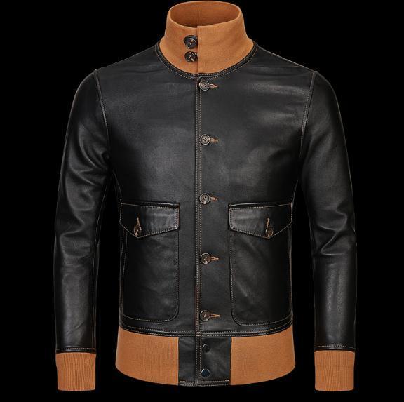 Ücretsiz kargo, yumuşak siyah erkek jackets.flight giysiler coat.thin klasik A1 deri ceket, klasik hakiki Pöstekimi mens