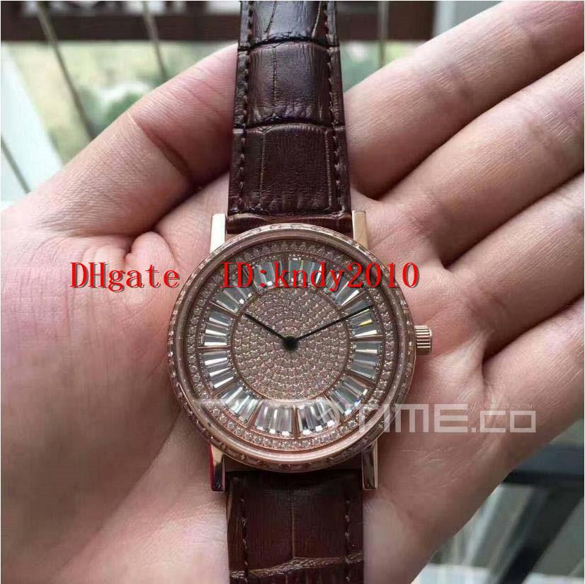 Горячие Продажа G0A38128 Наручные часы 18K розовое золото Мужской наручные часы издание Алмазный сапфировое водостойкой Miyota 9015 Механические часы