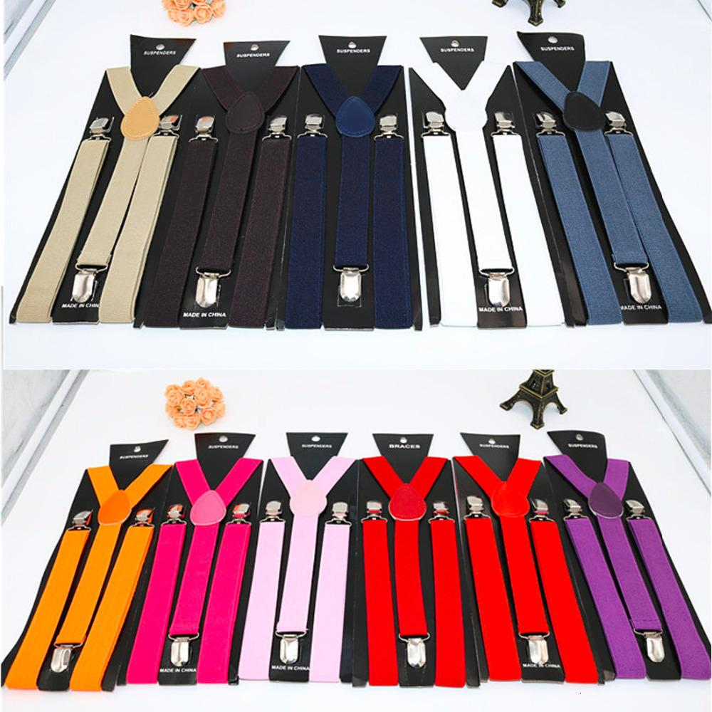 Yeni Womens Unisex Klipsli Suspenders Elastik Y-Biçimli Ayarlanabilir Braketler Katıların 25 * 100cm Rengarenk