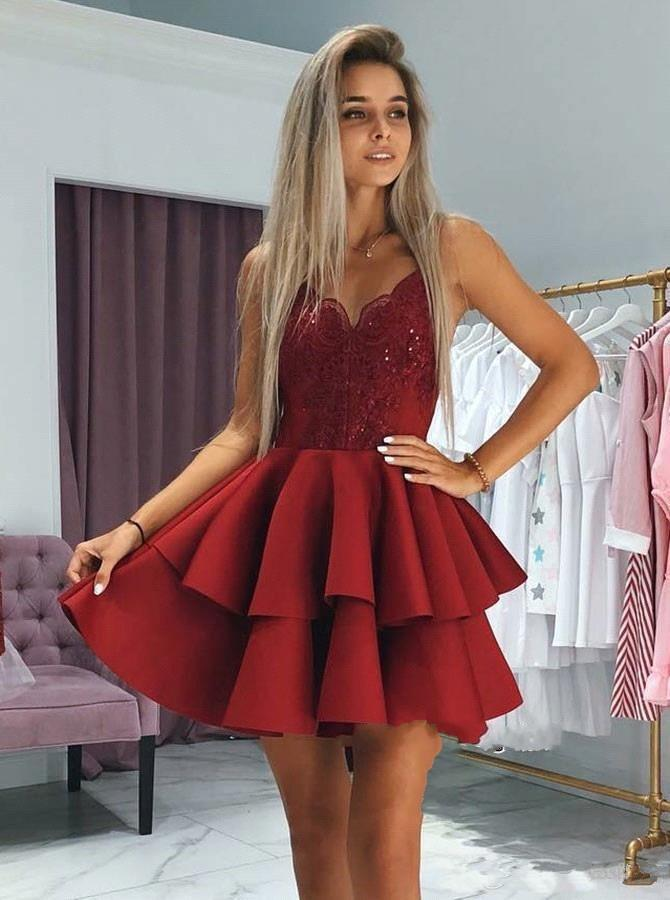 classic styles good exquisite design Cheap Cocktail Dresses Backless Sparkly Dark Red Sequin Lace Top Homecoming  Dresses 2020 Spaghetti Backless Short Mini Prom Party Gowns Formal Wear ...