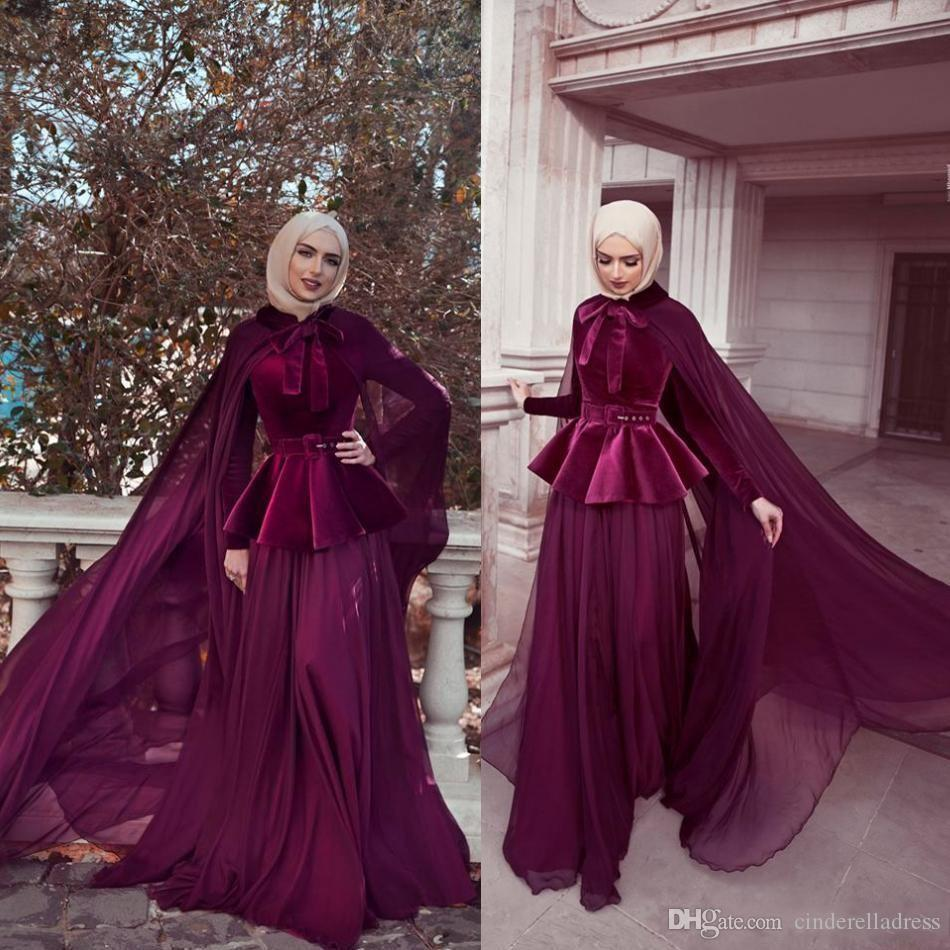 2020 Muslim Mermaid Evening Dresses With Cape Velvet Long Sleeves Prom Gowns Chiffon Skirt Party Dress Cheap