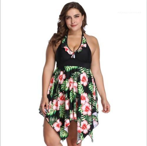 Print Plus Size Swimwear Loose Fashion Casual V Neck Bikini Jumpsuits One Piece Bathing Suit 6XL Women Flower