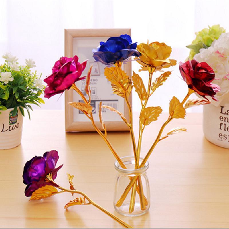 24k Gold Foil placcato Rose regali creativi dura per sempre Rose Fiori per Lover nuziale di Natale San Valentino Festa della mamma Decoration GGA3181-5
