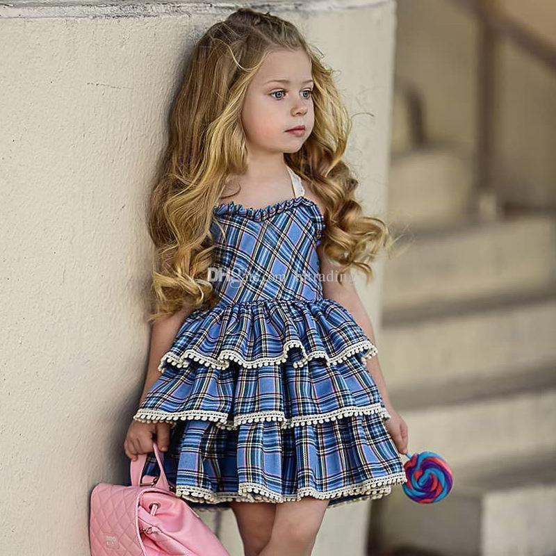 Baby girls Sling Lace Plaid dress Children lattice Tutu cake princess dresses 2019 summer Boutique Kids Clothing 2 colors C5744