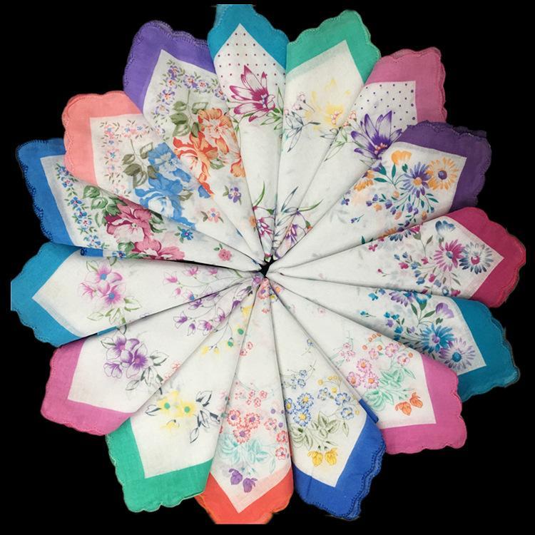 30 cm del borde de media luna algodón puro señoras impresas pañuelo, pañuelo grande magnífica flor, punto cinco dibujos de flores mixtas