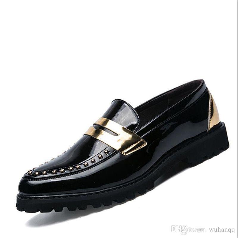 Italie design Rivets Dentelle Hommes D'affaires Habillées Chaussures De Luxe PU Pointu Oxford Flats Bureau fête Fond épais Hommes Casual Chaussures