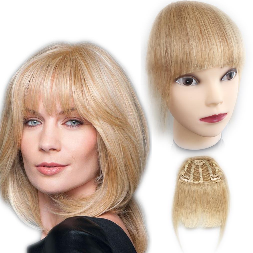 Clip en las explosiones del pelo humano Longitud 1 piece Clip de pelo en capas en Bangs Fringe Postizos Extensiones de cabello color - Bleach Rubio