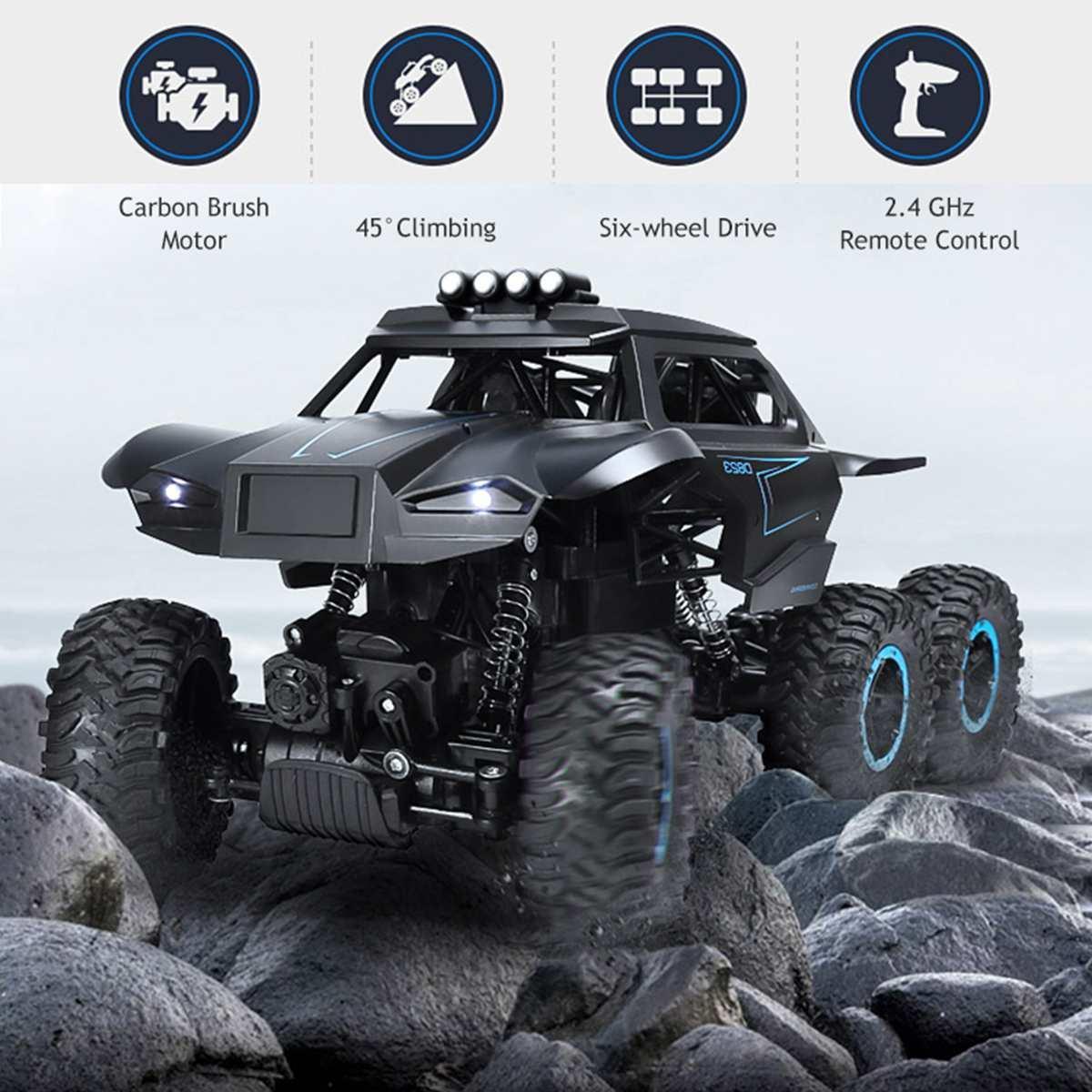 1/12 6WD Coche todoterreno 62 km / h Conductor Escalador con faro de escala 2.4 GHz RC Truck Toy Regalo de Navidad para niños y adultos