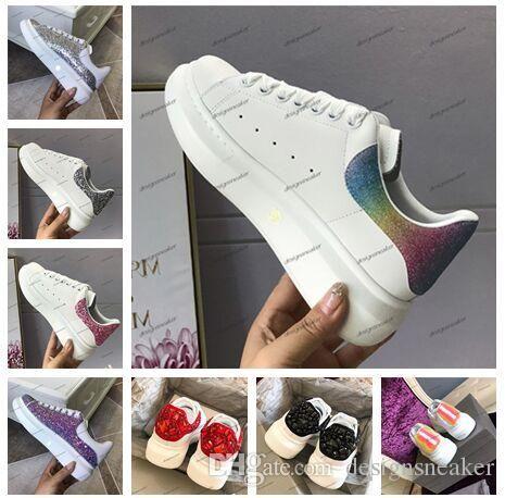 2019 Europa Moda Lüks Tasarımcı gökkuşağı Ayakkabı Bayan Erkek Günlük Ayakkabılar Döngü Parti Elbise Dantel-up Tenis Platformu Ayakkabı Sneakers Hook