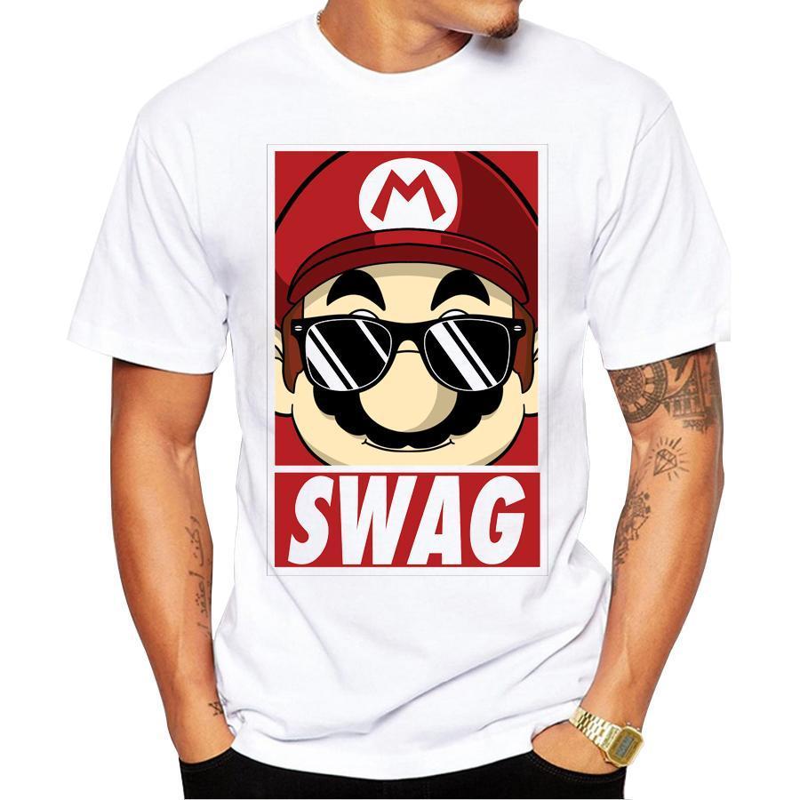 2020 En Yeni Yaz Mario Swag Erkekler Tişörtlü Kısa Kollu Punk Rock Erkek Tişörtü Tee Moda Baskılı tişörtler Soğuk Tops