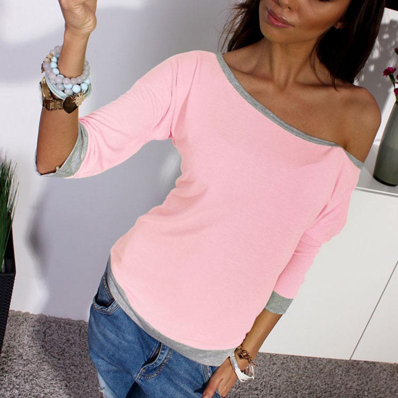 Nuova camicetta e top moda donna sexy fuori dalla spalla 3/4 manica casual primavera estate donne top shirts blusas muje rosa