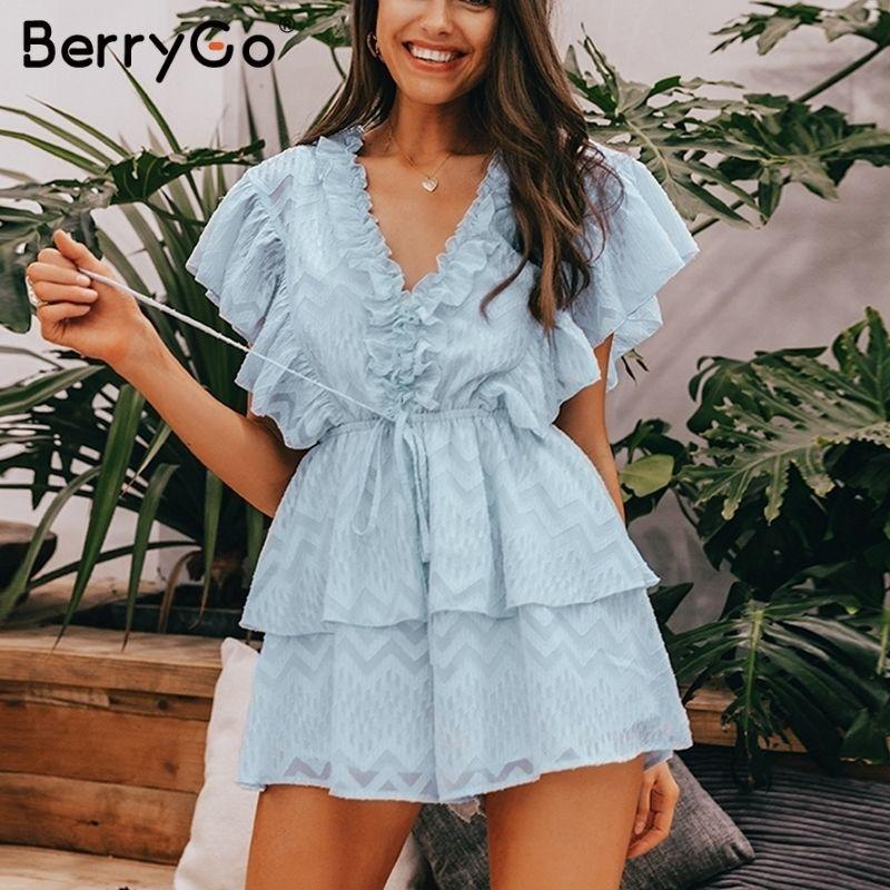 Berrygo Elegant Ruffled Jumpsuit Women Romper Summer Short Sleeve Sashes Chiffon V Neck Jumpsuits Sweet Ladies Overalls 2019 T4190612