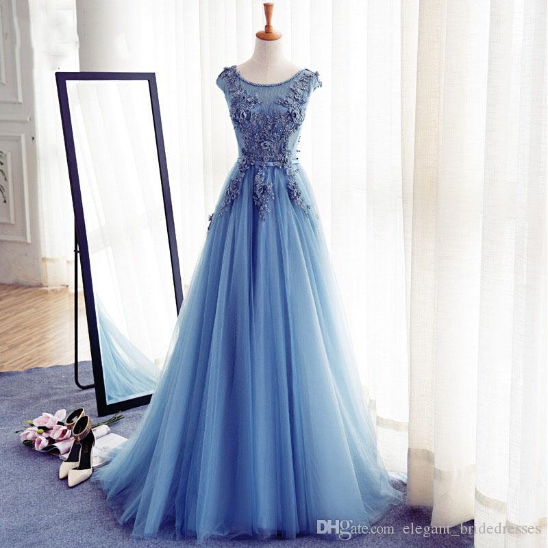 Abendkleider 3D fleur robes de soirée 2019 Robes longues élégant cristal bleu soir Tulle A-ligne du Parti Robe formelle Robe Longue