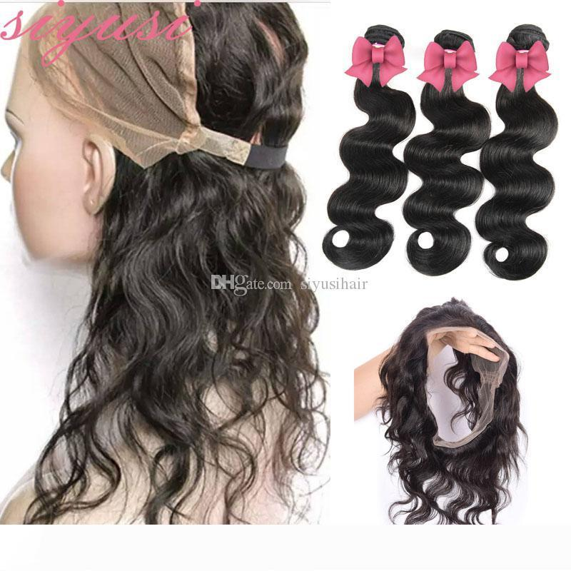 360 Lace Frontal With Bundles Malaysian Virgin Hair Body Wave With 360 Full Lace Frontal 3 4Pcs Lot Human Hair Wefts With Closure