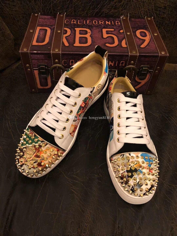 Zapatillas de deporte inferiores rojas Zapatos de hombre Tachuelas con estampado de graffiti de lujo polikadot multicolor en la parte superior estampado de charol con puntas negras colocadas Orlato