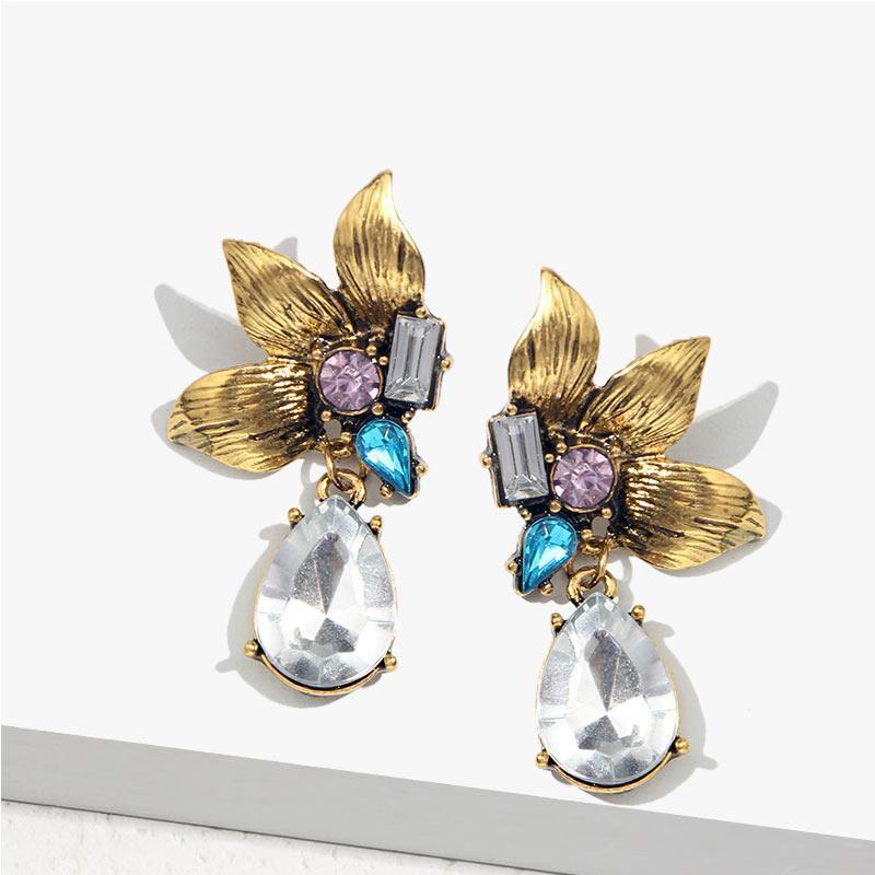 Nur das Gefühl 2019 Kristall Blume Ohrringe für Frauen Glänzende Geometric Statement Retro Metallohrring-Mode-Party Weiblichen Schmuck