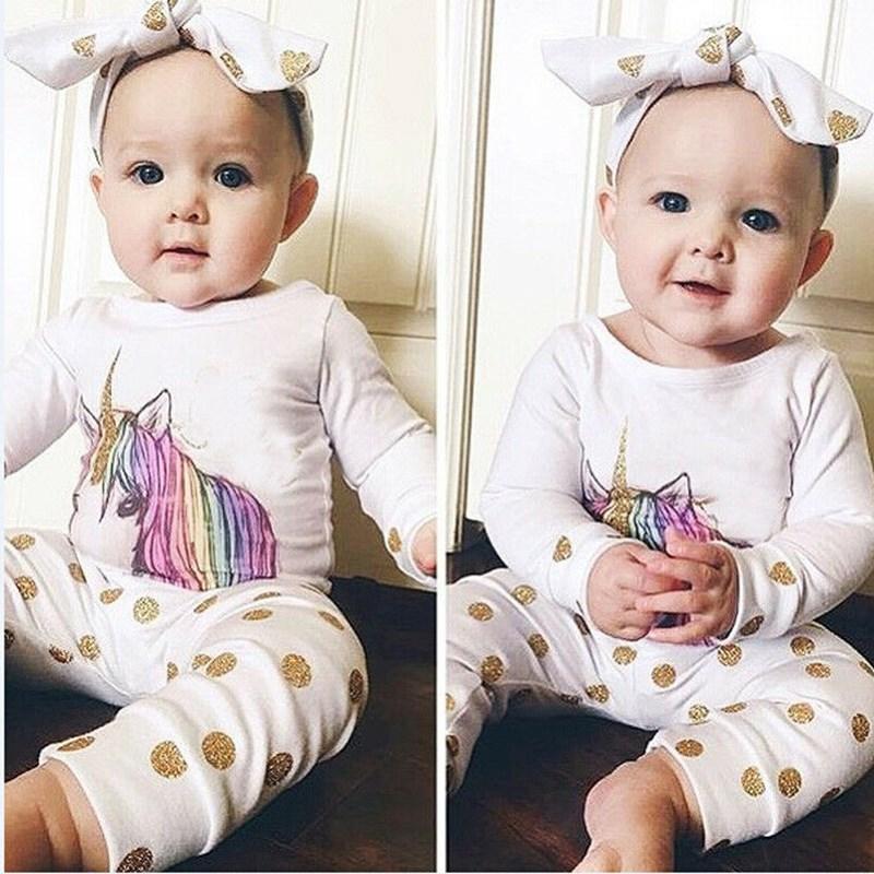 2020 3шт новорожденных девочек Единорог мода топы повседневная футболка +длинные брюки дети наряд одежда