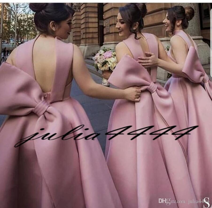 Blush Pink Bridesmaid Dresses with Ball Gown Big Bow Arabic Formal Wedding Guest Gowns Evening Dress Custom Made Backless Tea-length