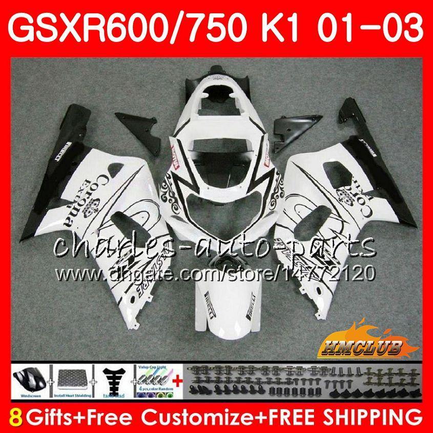 スズキホワイトセールのための8ギフトボディGSX-R750 GSXR 600 750 GSXR600 01 02 03 4HC.47 GSXR-600 K1 GSX R750 GSXR750 2001 2002 2003フェアリングキット