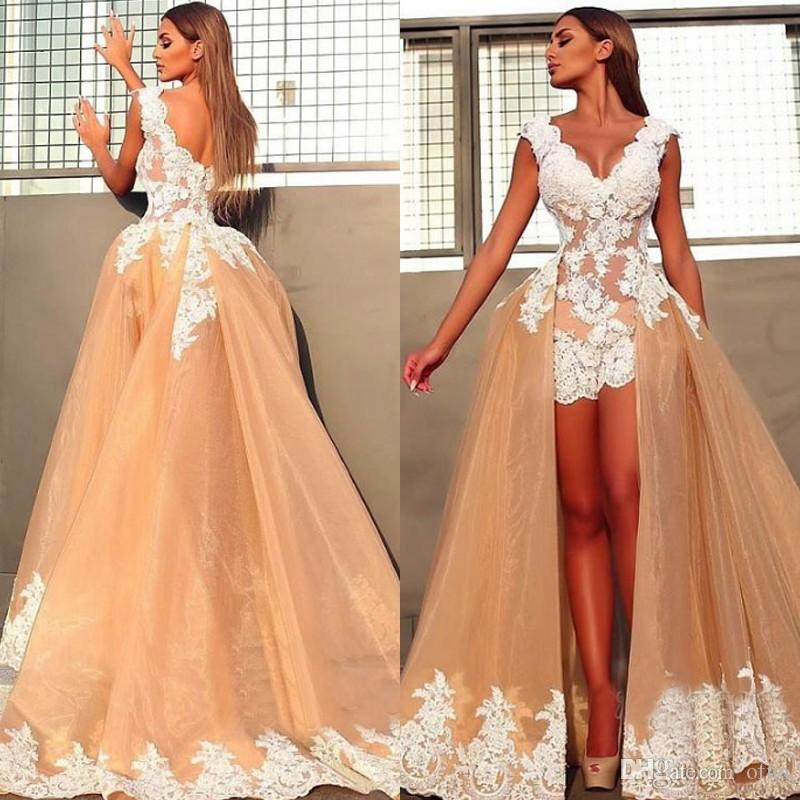 fine craftsmanship crazy price retail prices Sexy V Neck Sleeveless Evening Dresses 2019 Custom Made Chic Lace Appliques  Short Prom Dress With Tulle Detachable Train Best Evening Dress Brown ...