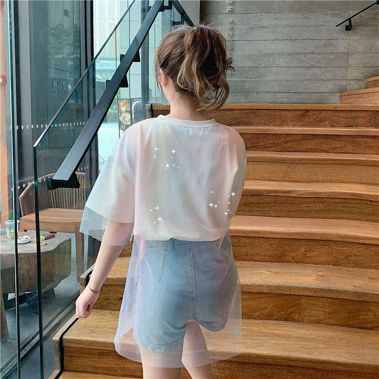 Yaz 2019 yeni orta uzun Süper Yangın CEC kısa kollu gelgit hava öğrenciler yarım kollu tişört kadın eşleşen gevşek
