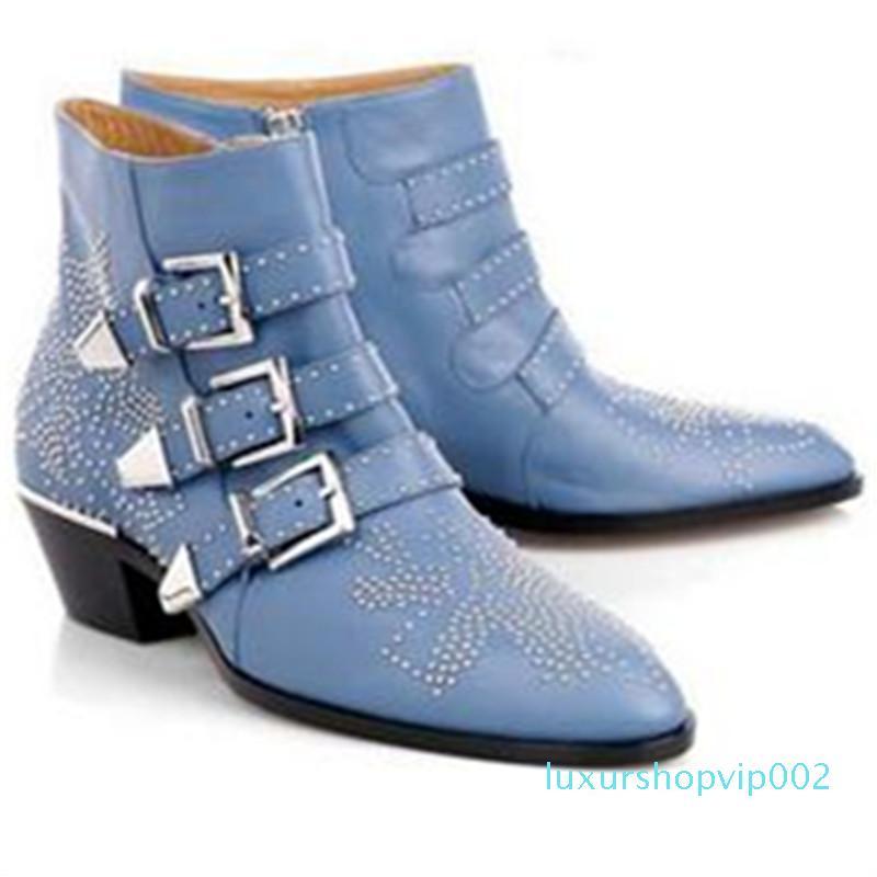 Venda-Couro Hot Buckle Botas Mulheres Sapato de bico fino salto baixo Zapatos de mujer Decor metal Shoes Mulher Moda Casual básico Botas Mujer