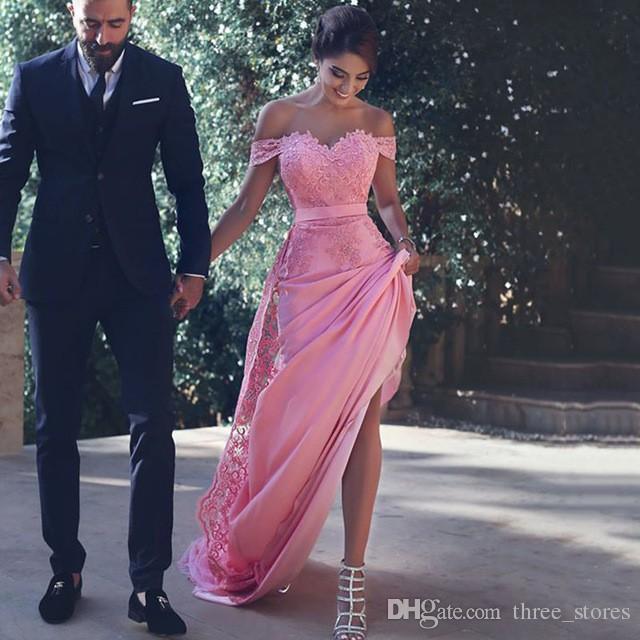 Rose de l'épaule longue sirène Robes de bal en dentelle Party Applique personnalisé robe Robe de soirée formelle