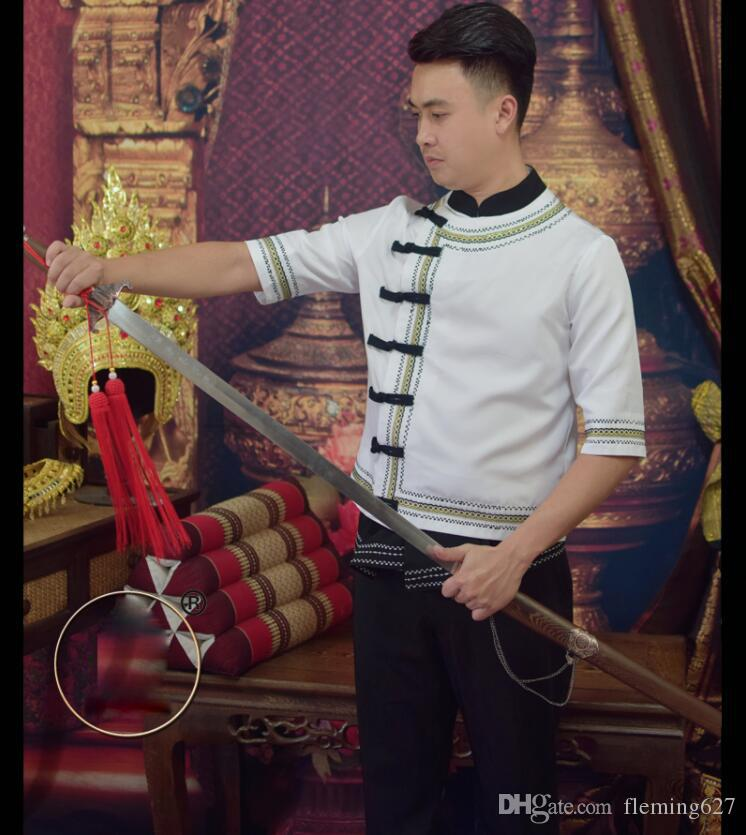 China YunNan Dai ropa de hombre tradicional Blanco negro Media manga Salpicaduras de agua Festival Ropa Gaguang Cosutme Jacket + Pants