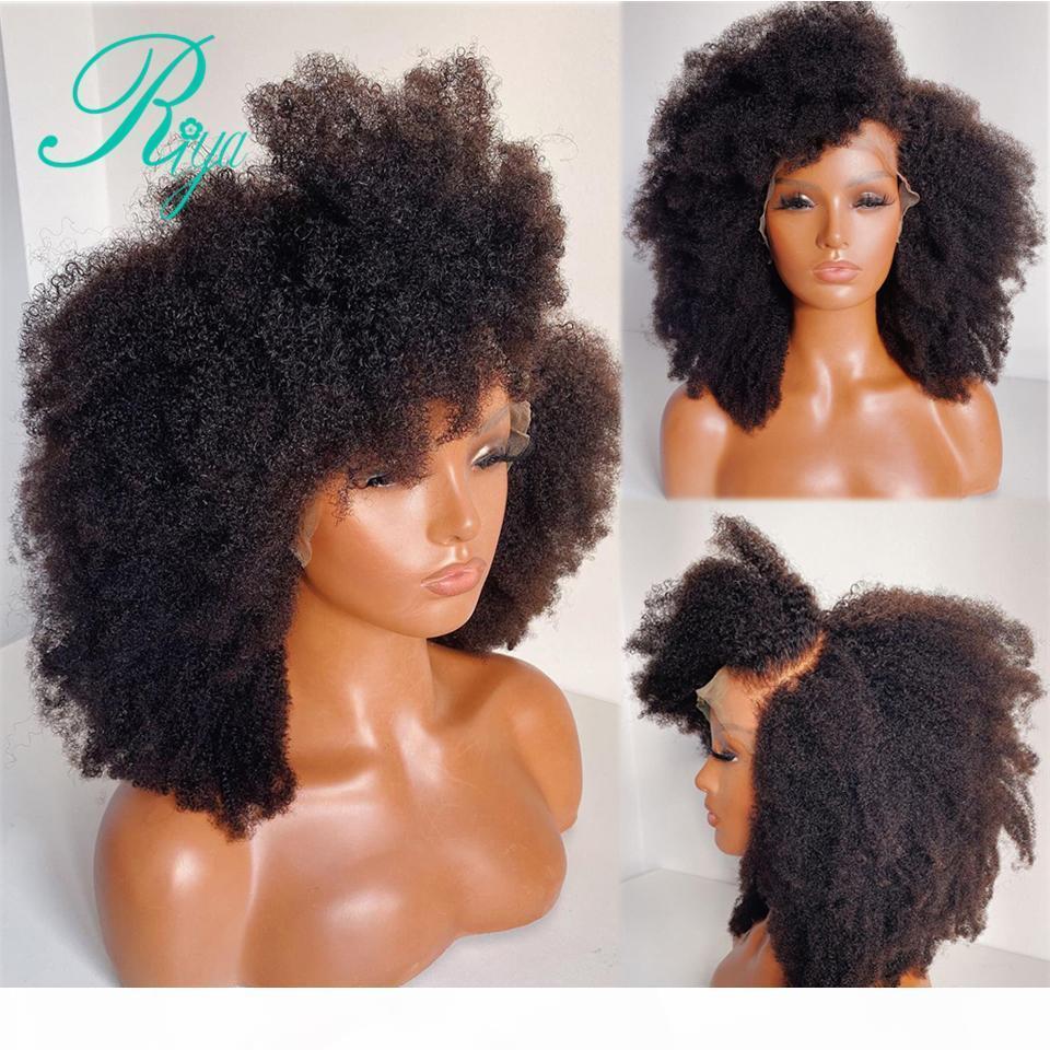 360 spitze frontal menschliche haarperücken für schwarze frauen 150% vorgeptet mit babyhaare remy afro kinky lockige indische schließung frontperücke
