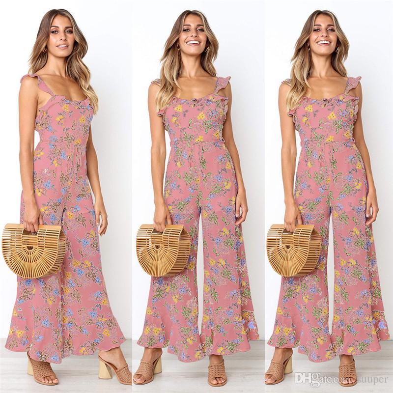 3bed9566 gasa estampado floral monos mujer 2019 volantes de verano sin respaldo  vendaje sexy pierna ancha pantalones