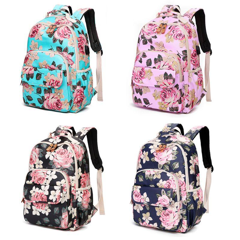 High Quality Vintage Floral Laptop Backpack School Bookbags College Bags Daypack