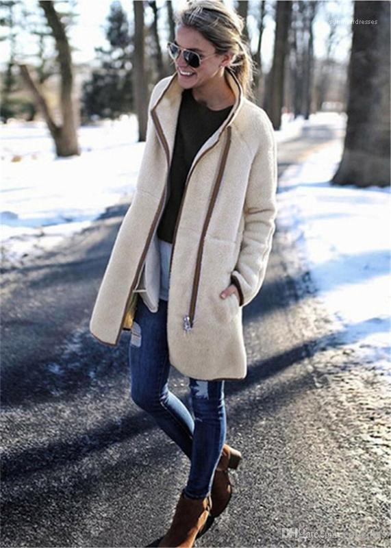 Designer épais à manches longues col montant Femmes Vestes Slim solide Couleur femmes manteaux de femmes Manteaux d'hiver