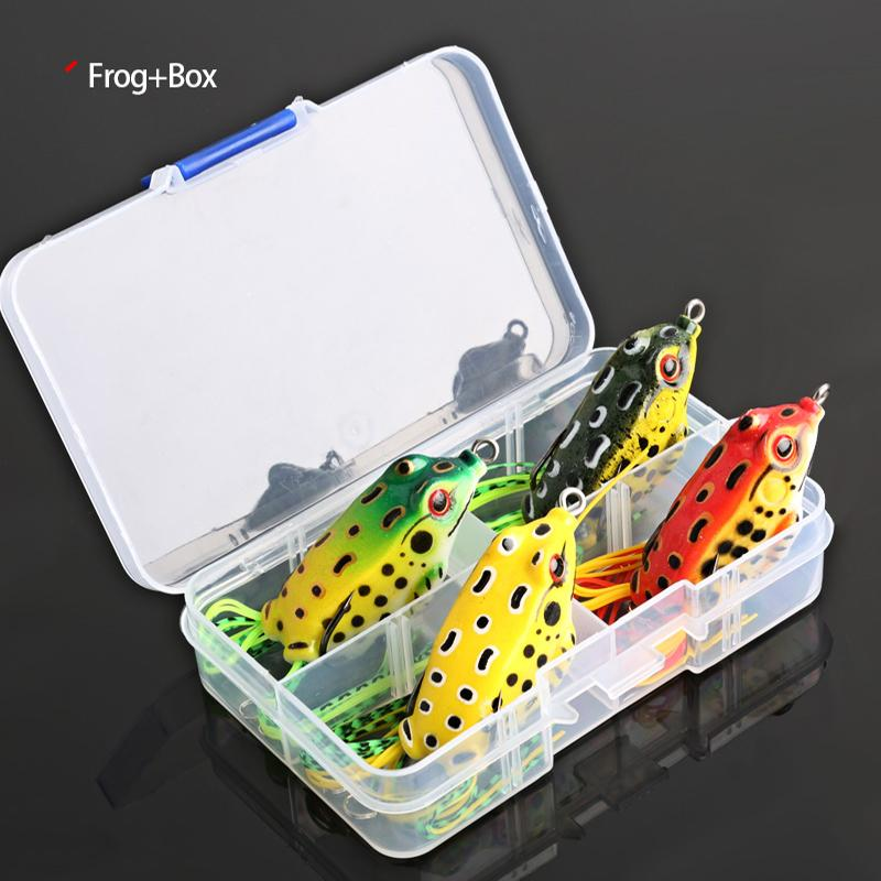 Cheap Fishin Lures 4pcs/Box Ray Frog Soft Fishing Lures 6g 9g 13g Double Hooks Top water Ray Frog Artificial Soft Bait Winter