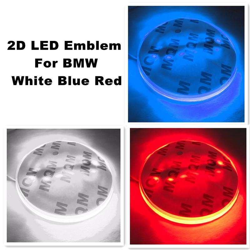 2D 자동차 주도 스티커 로고 배지 엠블럼 라이트 램프 12V 화이트 레드 블루 컬러 Forbmw