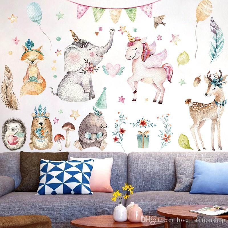 التجزئة 3 أنماط الاطفال الكرتون الحيوان يونيكورن الجدار ملصق الأطفال الجدار ملصق ملصقات خلفيات ديكور المنزل اللوحة الزخرفية