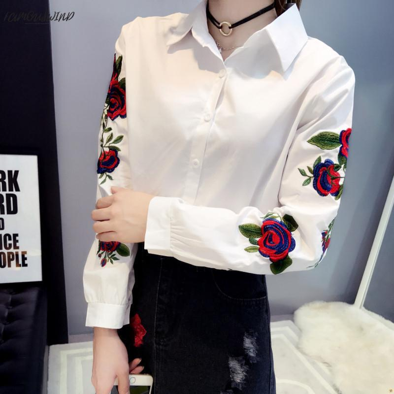 Blusa de manga larga con bordado floral de rosa para mujer Blusas informales Kimono blanco Office Lady Blusas 2019 Spring Plus Size 4Xl