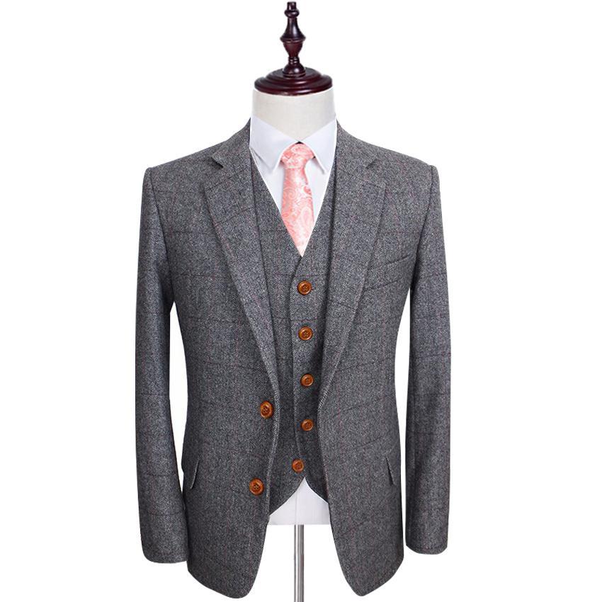 Wool Retro Grey Herringbone Tweed British Style Custom Made Mens Suit Tailor Slim Fit Blazer Wedding Suits For Men Jacket+pants+vest