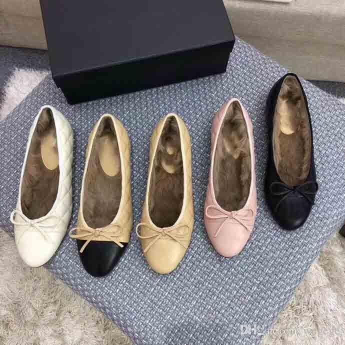 Women's luxury winter ballet shoes, electric embroidery lingge grain warm ballet shoes, winter rabbit hair ballet shoes,size:35-41