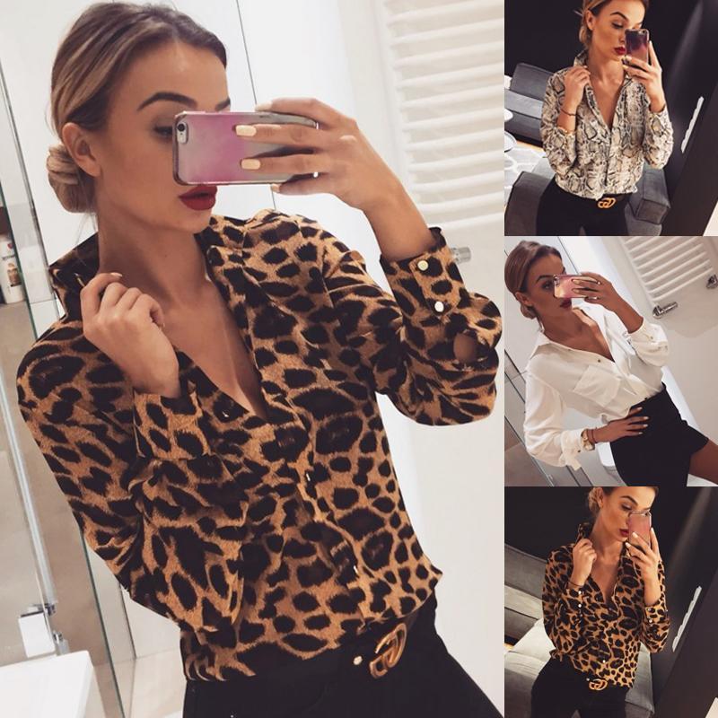Damen Freizeit-Knopf Bluse Tops Frauen Herbst Sexy Leopard Schlange lange Hülse lose mit V-Ausschnitt T-Shirts drucken