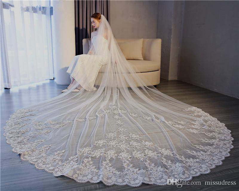 3m Length Romantic Lace appliques long Veil White Bridal Veils Luxury lace High Quality Wedding Veils