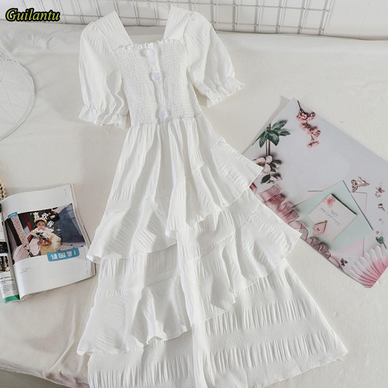 Guilantu 여름 화이트 프릴 캐주얼 롱 드레스 여성 고체 짧은 소매 슬림 섹시한 클럽 드레스 우아한 이브닝 파티 드레스