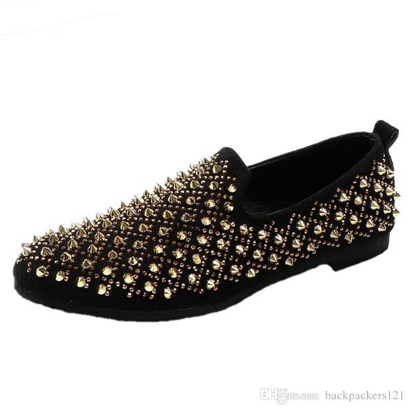 Perçin Erkekler Loafer'lar Ayakkabı Moda Kişilik Katı Deri Üzerinde Kayma Moda Adam Yemeği Parti Ayakkabı Adam Parti Ayakkab ...