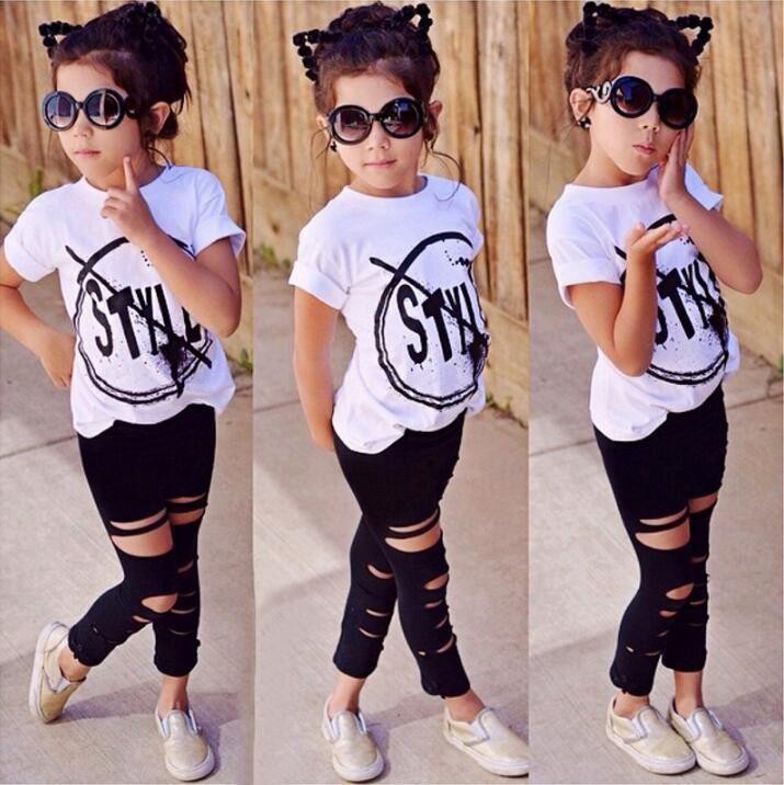 2019 Çocuk Kız Giysileri Set Bebek Kız Yaz Kısa Kollu Baskı T-Shirt + Delik Pantolon Tayt 2 ADET Kıyafet Çocuk Giyim Seti