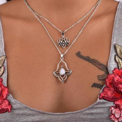 Vintage bohem Çok tabakalı kolye retrosilver bohemia beyaz taş kolye kolye Lotus çiçeği takı toptan ücretsiz gönderim